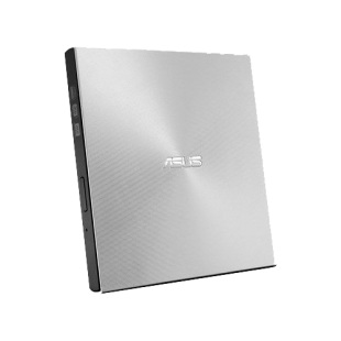 Asus (ZenDrive U9M) External Slimline DVD Re-Writer, USB-A / USB-C, 8x, Black, M-Disc Support, Cyberlink Power2Go 8, Silver