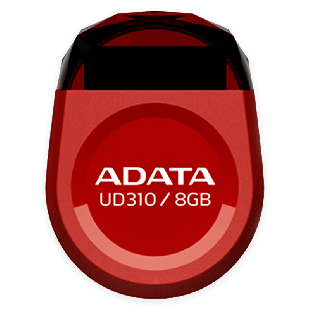 ADATA 8GB USB 2.0 UD310 Dashdrive Durable Memory Pen Micro, Rugged - Red