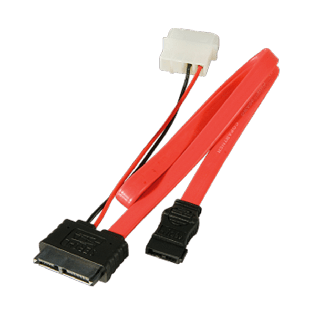 Akasa SATA Cable For Slimline Opticals, SATA+Molex to Mini SATA Power & Data, 40cm