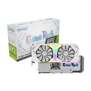 Palit RTX2080 SUPER White GameRock Premium, 8GB DDR6, HDMI, 3 DP, USB-C, 1860MHz Clock, NVLink, 0-dB Tech, RGB Lighting