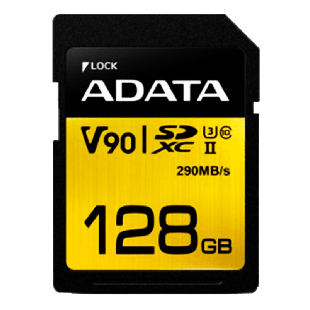 ADATA Premier ONE 128GB SDXC Card, UHS-II Class 10 (U3), V90 Video Speed (8K), R/W 290/260 MB/s