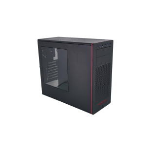 Riotoro CR480 Gaming Case with Window, ATX, No PSU, 2 x 12cm Fans, USB 3.0, Black & Red