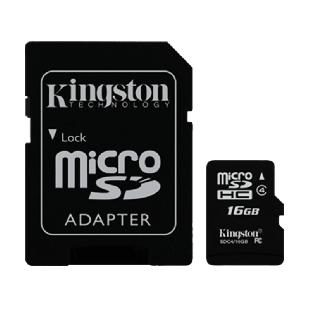 Kingston 16GB High Capacity Micro SD Card with SD Adapter - Class 4