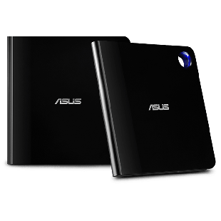 Asus (SBW-06D5H-U) Ultra-slim External Blu-Ray Writer, 6x, USB 3.1 A/C, M-DISC Support, Cyberlink Power2Go 8 - Black