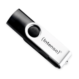 Intenso 16GB USB 2.0 Memory Pen Basic Line - Black & Silver