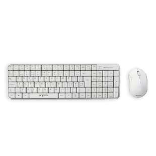 Approx Compact Wireless Keyboard and Mouse Kit - White
