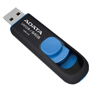 ADATA 64GB USB 3.0 Memory Pen Retractable Capless - Black & Blue