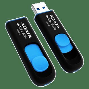 ADATA 32GB USB 3.0 Memory Pen Retractable Capless - Black & Blue