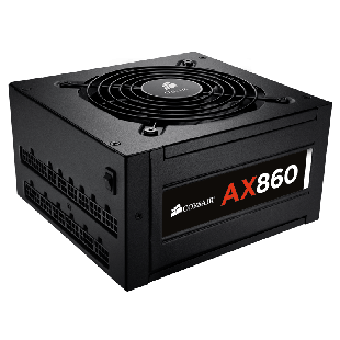 Corsair 860W Professional AX Series AX860 PSU, Dual Ball Bearing Fan, Fully Modular, 80+ Platinum