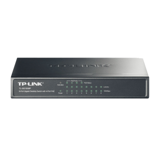 TP-Link (TL-SF1008P) 8-Port 10/100Mbps Unmanaged Desktop Switch, 4-Port PoE, Steel Case