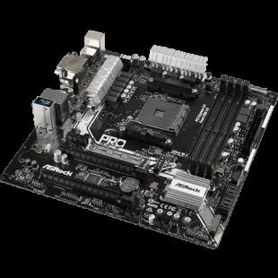 Asrock A320M PRO4, AMD A320, AM4, Micro ATX, 4 DDR4, VGA, DVI, HDMI, M.2, RAID