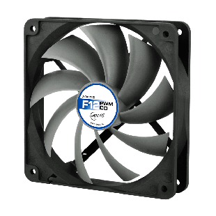 Arctic F12 12CM PWM PST Case Fan for Continuous Operation, 9 Blades, Dual Ball Bearing - Black & Grey