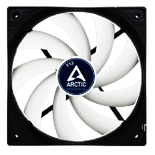 Arctic F12 Low Noise 12CM Case Fan, 9 Blades, Fluid Dynamic - Black & White