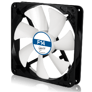 Arctic F14 14CM Case Fan, 9 Blades, Fluid Dynamic - Black & White