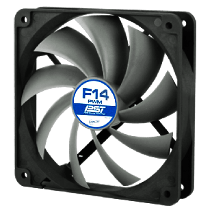 Arctic F14 PWM PST 14CM Case Fan, 9 Blades, Fluid Dynamic - Black & White