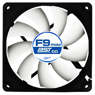 Arctic F9 9.2CM PWM PST Case Fan for Continuous Operation, 9 Blades, Dual Ball Bearing - Black & Grey