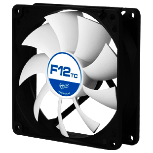 Arctic F12 Temperature Controlled 12CM Case Fan, 9 Blades, Fluid Dynamic - Black & White