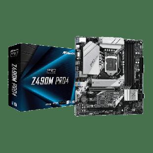 Asrock Z490M PRO4, Intel Z490, 1200, Micro ATX, 4 DDR4, XFire, VGA, HDMI, DP, M.2