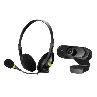 Sandberg Bundle - USB Headset with Boom Mic (325-26) & FHD USB Webcam with Mic (333-96) - Soft Bundle (Boxed Separately) - 5 Year Warranty
