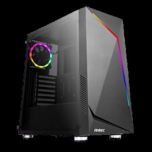 Antec NX300 ATX Gaming Case with Window, No PSU, Tempered Glass, ARGB Rear Fan & Front ARGB LED Strip, LED Control Button, Black