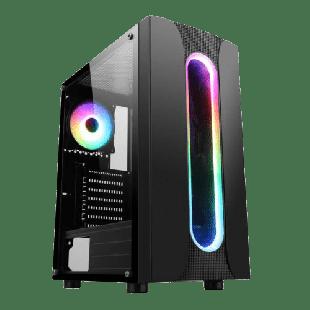Spire Sauron ARGB Gaming Case w/ Glass Window, ATX, ARGB Strips w/ IC connection, 1 ARGB Fan, Mesh Top & Front Cut-Out