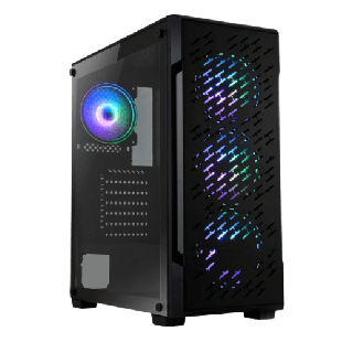 Spire Crossfire Gaming Case w/ Glass Window/ATX/ 4 ARGB Fans/LED Button/PSU Shroud/High Airflow Front/Mesh Top