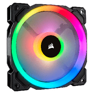 Corsair LL140 14CM PWM, 16 LED RGB Dual Light Loop, Hydraulic Bearing, Case Fan - Black with RGB LEDs