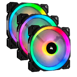 Corsair LL120 12CM PWM RGB Case Fan X3, 16 LED RGB Dual Light Loop, Hydraulic Bearing, 3-Pack - Black with RGB LEDs