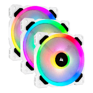 Corsair LL120 12CM PWM RGB Case Fan X3, 16 LED RGB Dual Light Loop, Hydraulic Bearing,  3-Pack - White