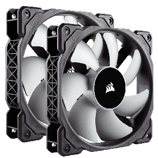 Corsair ML140 14CM Premium PWM Case Fans X2, Magnetic Levitation Bearing, Low Noise, Twin Pack - Black