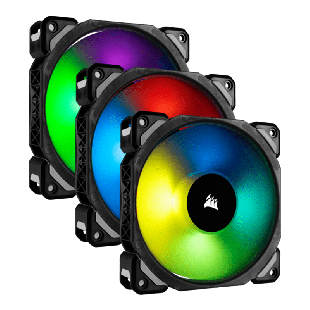 Corsair ML120 Pro 12CM PWM RGB Case Fans X3, Magnetic Levitation Bearing, 3 Pack - Black with RGB LEDs