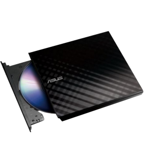 Asus (SDRW-08D2S-U LITE) External Slimline DVD Re-Writer, USB, 8x, Black, Cyberlink Power2Go 7