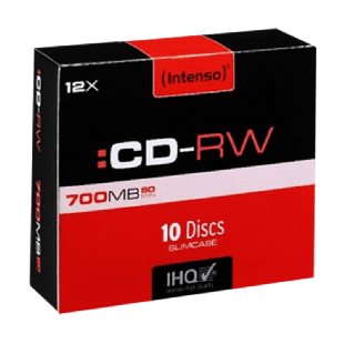 Intenso CD-RW, 700MB 80-Minutes, 12X Speed, Re-Writable Disks, Slim Case 10 Pack