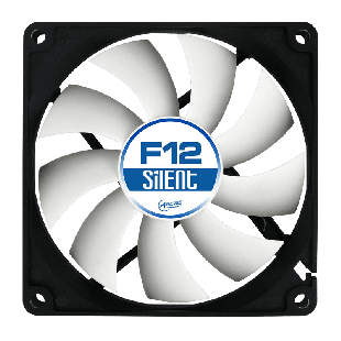 Arctic F12 Silent 12CM Case Fan, 9 Blades, Fluid Dynamic - Black & White