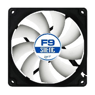 Arctic F9 Silent 9.2CM Case Fan 9 Blades, Fluid Dynamic - Black & White
