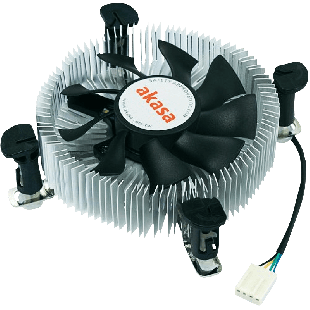 Akasa AK-CCE-7106HP, Sockets 775, 1155, 1156, Low Profile, PWM Heatsink and Fan - Silver & Black
