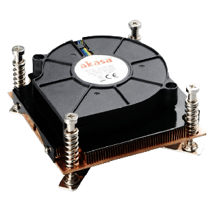 Akasa AK-CCE-7107BP Heatsink and Fan, Sockets 775 & 115X,  Low Profile, PWM Fan - Black