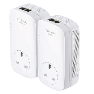 TP-LINK (TL-PA9020P KIT) AV2000 GB Powerline Adapter Kit, AC Pass Through, 2 Ports