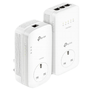 TP-LINK (TL-WPA8630P KITV2) AC1350 Wireless Dual Band Powerline Adapter Kit, AV2 1300, AC Pass Through, 3-Port