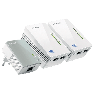 TP-LINK (TL-WPA4220T KIT) 300Mbps AV600 Wireless N Powerline Adapter Triple Kit - White