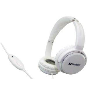 Sandberg Home N Street Headset, Microphone on Cable, 40mm Driver-White