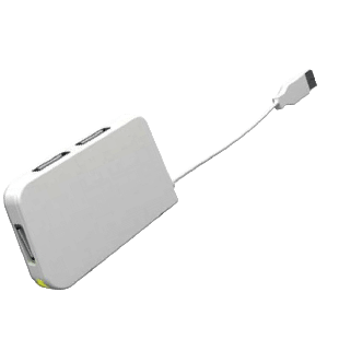 Approx (APPHT4W) External 4-Port USB 2.0 Travel Hub, LED - White