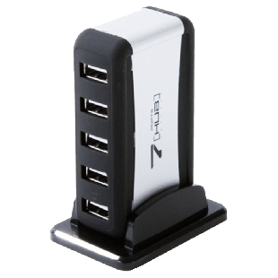 Dynamode (USB-H70-1A2.0) External 7-Port USB 2.0 Hub, Mains Powered - Black