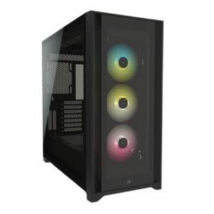 Corsair iCUE 5000X RGB Gaming Case w/ 4x Tempered Glass Panels, E-ATX, 3 x AirGuide RGB Fans, Lighting Node CORE included, USB-C, Black
