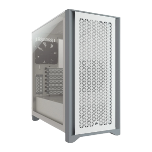 Corsair 4000D Airflow Gaming Case w/ Tempered Glass Window, E-ATX, 2 x AirGuide Fans, High-Airflow Front Panel, USB-C, White