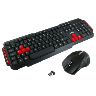 Brand New Jedel WS880 Wireless Gaming Desktop Kit, Nano USB, Multimedia Keyboard with Red Colour Coded Keys, 800-2000 DPI Mouse