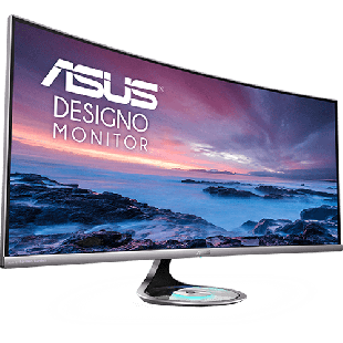 "Asus 37.5"" Designo Curve UWQHD Ultra-wide Curved Monitor (MX38VC), 21:9, 3840 x 1600, Qi Wireless Charger, Bluetooth Support, Speakers"