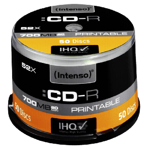 Intenso CD-R, 700MB 80-Minutes, 52X Speed, Printable, Cake Box of 50