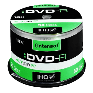 Intenso DVD-R, 4.7GB 120-Minutes, 16X Speed, Single Layer, Cake Box of 50