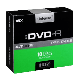 Intenso DVD-R, 4.7GB 120-Minutes, 16X Speed, Single Layer, Printable, Slim Case of 10